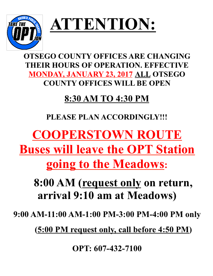 County Office Hours Change